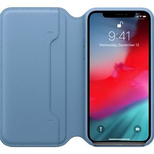 iPhone XS MAX Leather Folio Case - Cape Cod Blue
